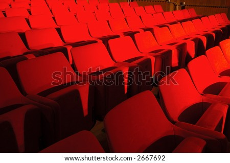 Red seats in public hall