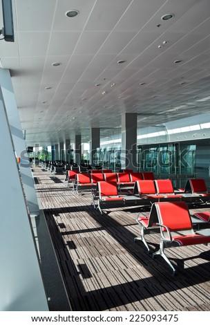 Red seats in terminal D of Borispol Airport, Kiev, Ukraine - stock photo