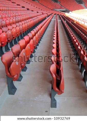 Red seats of Letzigrund stadium in Zurich -- site of Euro 2008    - stock photo