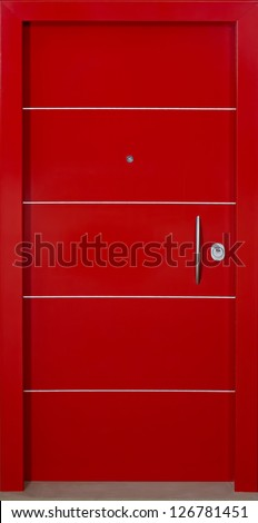 Red Security Door. - stock photo