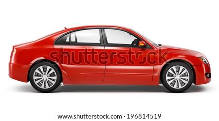 Red Sedan 3D Car - stock photo