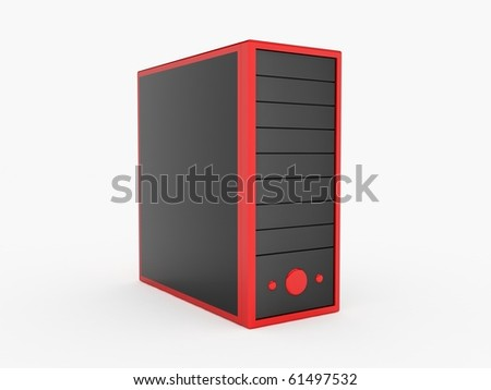 Red server - stock photo