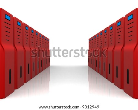 red servers - stock photo