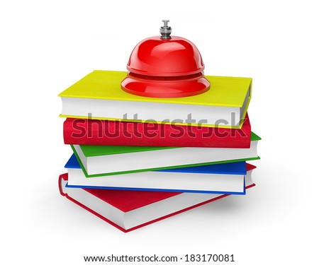 Red Service Bell standing on stack of books on a white background - stock photo