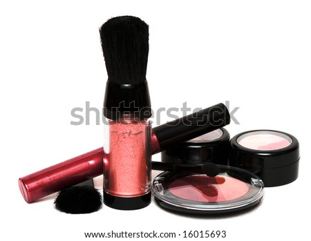 red set for make-up, eyeshadows, rouge, blusher and gloss