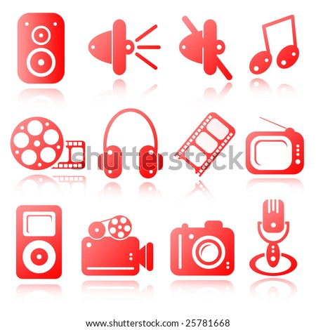 red set of multimedia icons