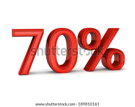 Red seventy percent, isolated on white background. 70%