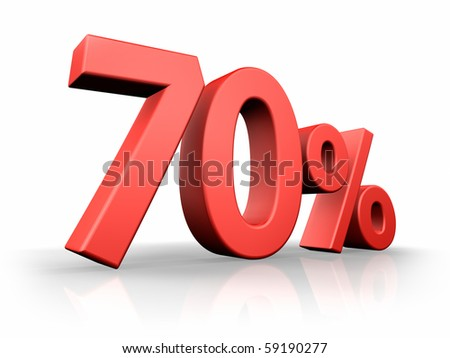 Red seventy percent, isolated on white background. 70% - stock photo