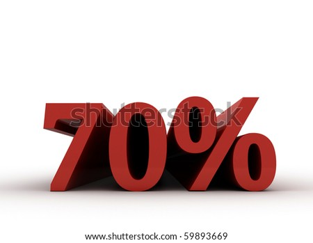 Red seventy percent, isolated on white background. 80% - stock photo