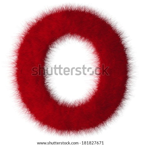 Red shag O letter isolated on white background - stock photo