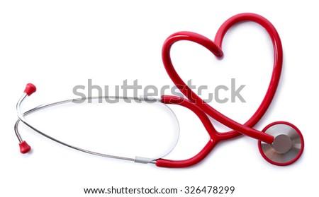 red shape heart stethoscope isolated on white - stock photo
