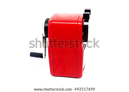 red sharpener of pencil isolated on white background