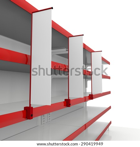 red shelf in perspective with blank shelfstoppers - stock photo
