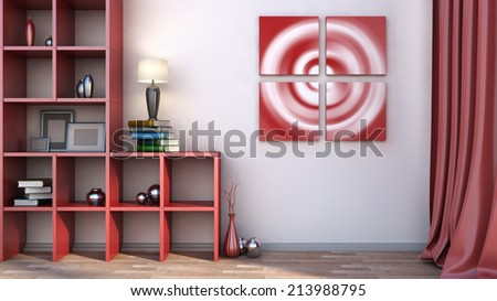red shelf with vases, books and lamp - stock photo