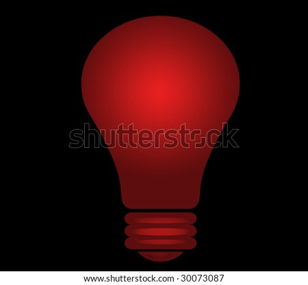 red shining lighbulb - stock photo