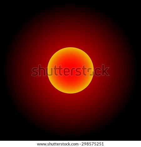 Red shinning sun; Pluto; Jupiter; Charon; Moon; Dwarf planet; New Horizons - stock photo