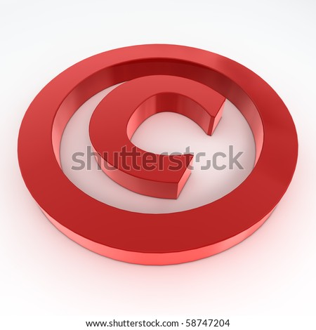 red shiny and glossy copyright sign laying on a white ground - stock photo