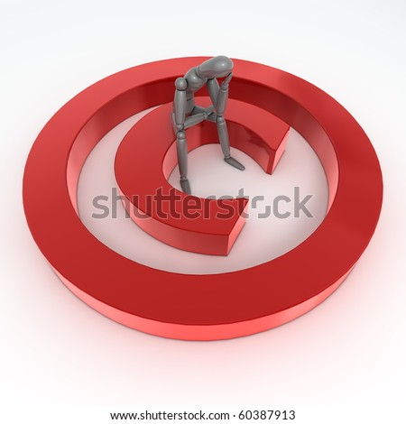 red shiny and glossy copyright sign laying on a white ground - a person in grey is sitting on it thinking and wondering - stock photo