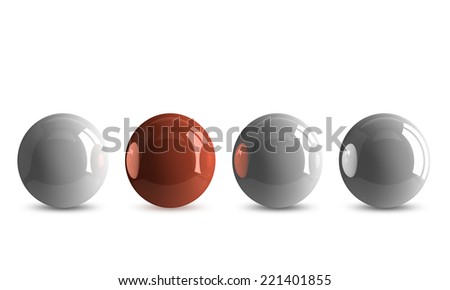 Red shiny ball in row of white ones isolated on white - stock photo