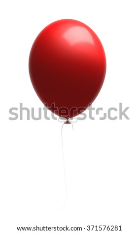 Red shiny balloon attached to a white string. Isolated on white background. Clipping path is included. - stock photo