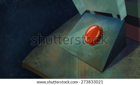 Red Shiny Dangerous Button on a Table. Digital background raster illustration.