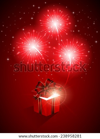 Red shiny fireworks and gift box, illustration. - stock photo