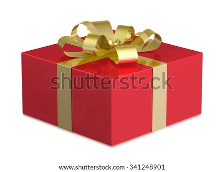 Red shiny gift box with golden bow isolated on white background
