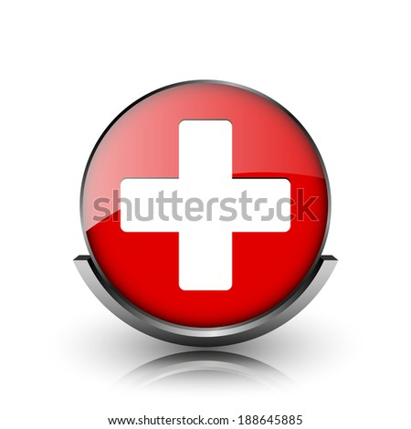 Red shiny glossy icon on white background