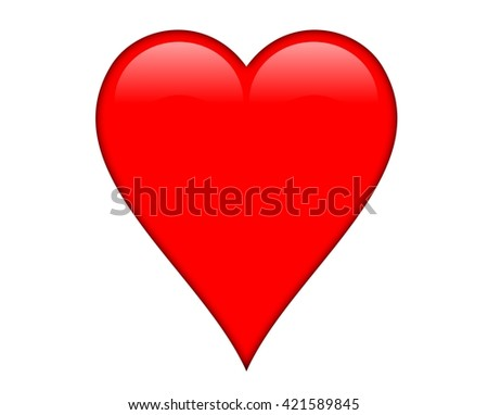Red shiny heart, isolated over a white background. - stock photo