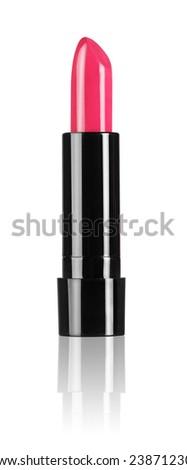 Red shiny lipstick isolated on white bacground - stock photo