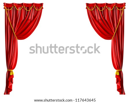Red shiny theater curtains and yellow ropes, isolated on white background. - stock photo