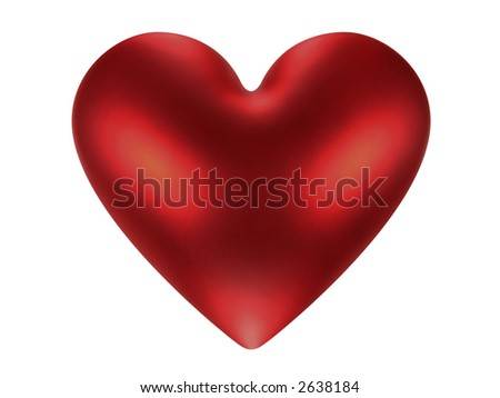 Red shiny Valentine heart (+ clipping path)