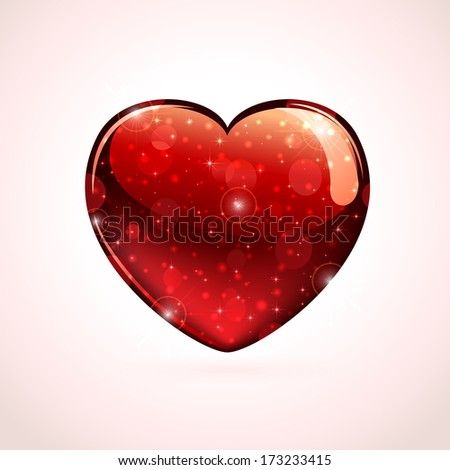 Red shiny valentines heart on a pink background, illustration. - stock photo