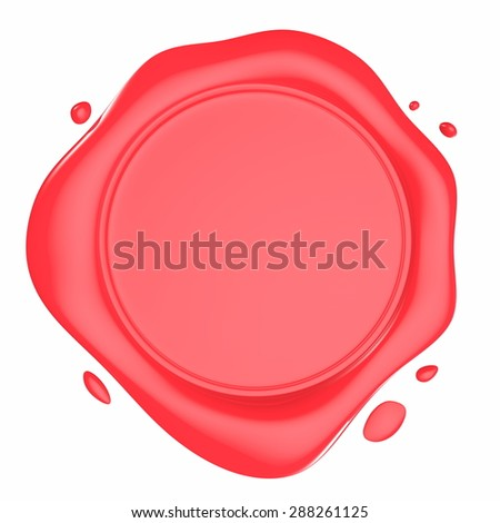 Red Shiny Wax Seal 3d Illustration Isolated on White