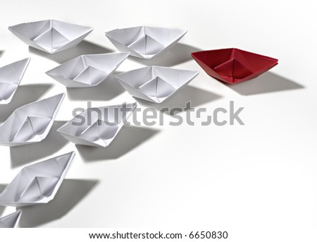red ship leading - stock photo