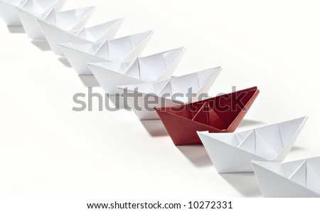 red ship startline - stock photo