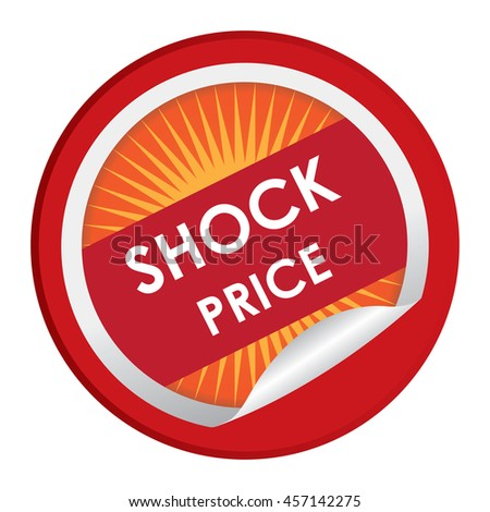 Red Shock Price Special Promotion Campaign Infographics Icon on Circle Peeling Sticker Isolated on White Background  - stock photo