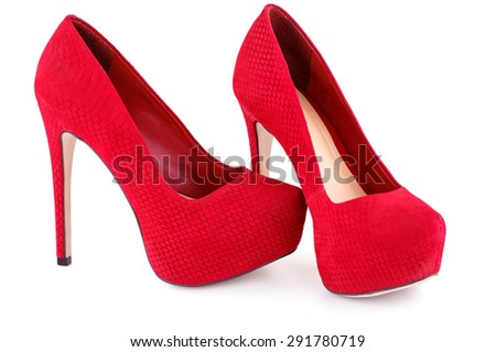 Red shoes isolated on white background. - stock photo