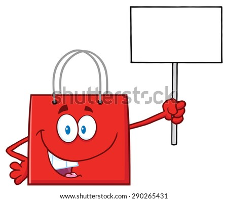 Red Shopping Bag Cartoon Character Holding Up A Blank Sign. Raster Illustration Isolated On White - stock photo