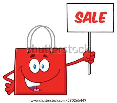Red Shopping Bag Cartoon Character Holding Up A Blank Sign With Text. Raster Illustration Isolated On White - stock photo