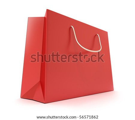 Red Shopping Bag. Clean cover . Isolated on white - stock photo