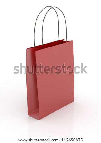 Red Shopping Bag - Isolated on White Background