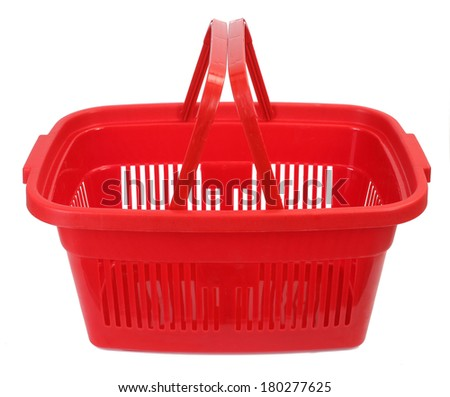 Red shopping basket - stock photo