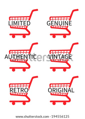Red Shopping Cart Icons with Vintage Texts - stock photo