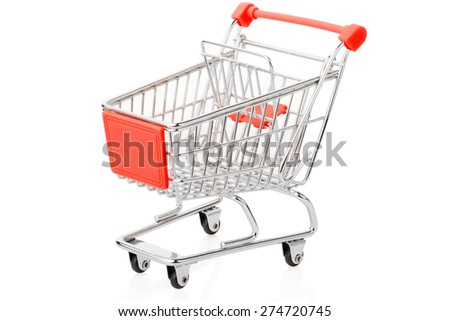 Red shopping cart isolated on white, clipping path included - stock photo