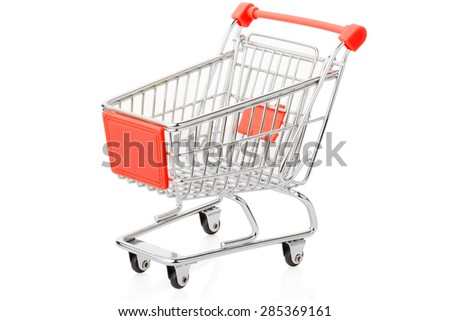 Red shopping cart isolated on white, clipping path included
