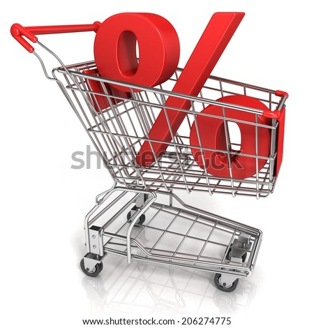 Red shopping cart with percent sign, isolated on white background - stock photo