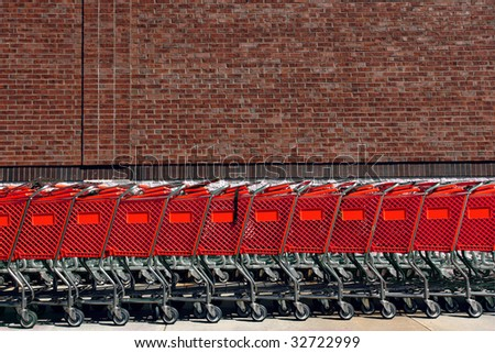 Red shopping carts - stock photo