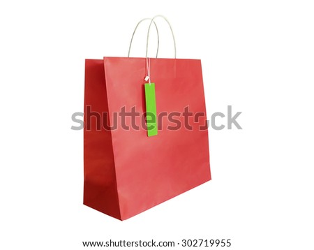 Red shopping paper bag isolated on white background.