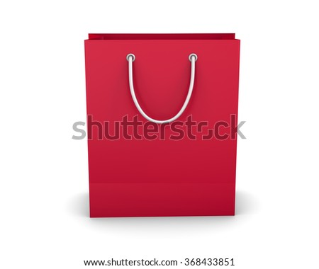 red shopping paper bag isolated on white background, illustration.